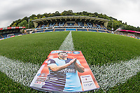 Matt Bloomfield of Wycombe Wanderers appears on the front of the Programme after making his 400 appearance for the club in the previous match during the Sky Bet League 2 match between Wycombe Wanderers and Colchester United at Adams Park, High Wycombe, England on 27 August 2016. Photo by Andy Rowland.