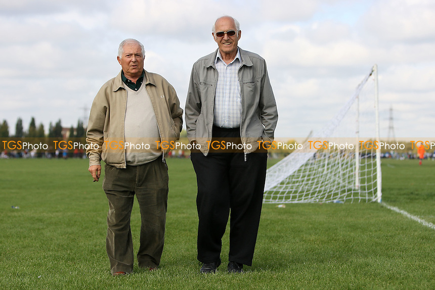League Chairman Johnnie Walker (L) and Vice Chairman Alec Pretlove walk across the Marshes - Hackney & Leyton Sunday League Football at South Marsh, Hackney Marshes, London - 18/09/11 - MANDATORY CREDIT: Gavin Ellis/TGSPHOTO - Self billing applies where appropriate - 0845 094 6026 - contact@tgsphoto.co.uk - NO UNPAID USE.