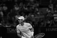Washington, DC - August 5, 2015: Number 1 seed Andy Murraywaits readies for a return ball after making a forehand shot in a match against Teymuraz Gabashvii of Russia during the Citi Open tennis tournament at the FitzGerald Tennis Center in the District of Columbia August 5, 2015.  (Photo by Don Baxter/Media Images International)