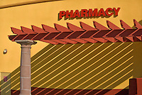 Pharmacy sign, colorful wall, trellis, shadow, Architectural, Commercial, Building, Exterior, Vignette, colorful, design, architecture,