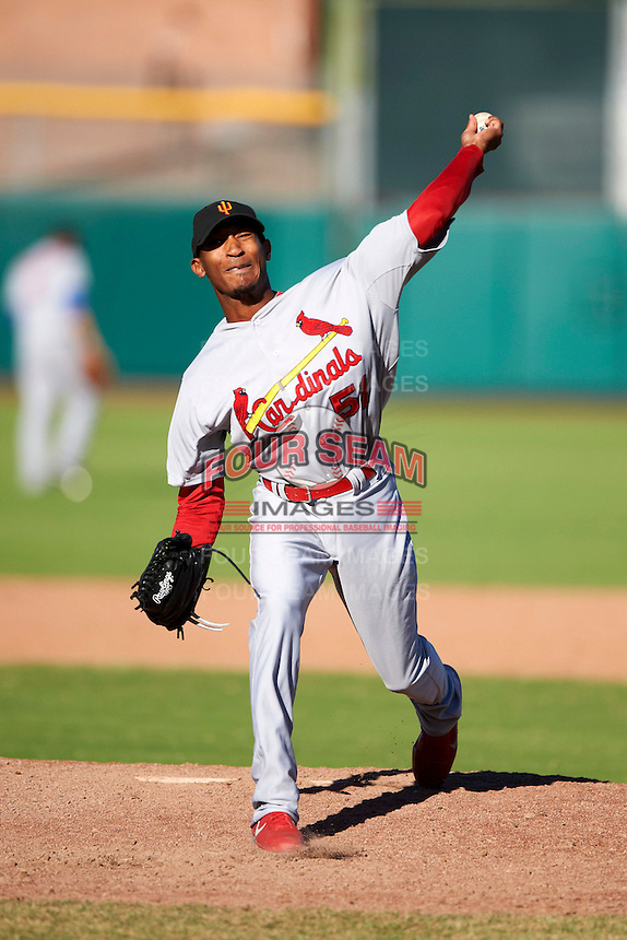 Surprise Saguaros pitcher Sam Freeman #51, of the St. Louis Cardinals organization, during an Arizona Fall League game against the Scottsdale Scorpions at Scottsdale Stadium on October 16, 2012 in Scottsdale, Arizona.  Surprise defeated Scottsdale 11-3.  (Mike Janes/Four Seam Images)