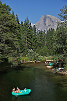 Lovers, rafters, Merced River, Half Dome, Yosemite National Park