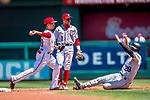 30 July 2017: Washington Nationals infielder Adrian Sanchez turns a double-play in the first inning against the Colorado Rockies at Nationals Park in Washington, DC. The Rockies defeated the Nationals 10-6 in the second game of their 3-game weekend series. Mandatory Credit: Ed Wolfstein Photo *** RAW (NEF) Image File Available ***