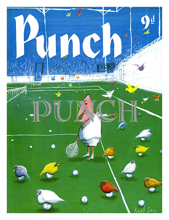 Punch Front Cover - July 2nd 1958 - (colourful birds sitting on balls much to the annoyance of tennis player)