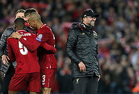 Liverpool manager Jurgen Klopp celebrates with his players in front of their fans at the final whistle <br /> <br /> Photographer Rich Linley/CameraSport<br /> <br /> UEFA Champions League Semi-Final 2nd Leg - Liverpool v Barcelona - Tuesday May 7th 2019 - Anfield - Liverpool<br />  <br /> World Copyright &copy; 2018 CameraSport. All rights reserved. 43 Linden Ave. Countesthorpe. Leicester. England. LE8 5PG - Tel: +44 (0) 116 277 4147 - admin@camerasport.com - www.camerasport.com