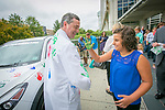 Brook Hines, 10, Ewing's Sarcoma patient, puts her handprint on Daniel Wechsler, MD, PhD, Pediatric Hematology-Oncology Specialist, during a Hyundai Hope On Wheels event at the Duke Children's Health Center, Tues. Sept. 20, 2016. Every time a Hyundai vehicle is purchased, Hyundai and its dealers make a donation to Hope on Wheels, a nonprofit organization that is committed to finding a cure for childhood cancer one handprint at a time.