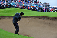 Robert Rock plays out of the bunker on the 18th during the 2nd playoff  hole during the Final Round of the 3 Irish Open on 17th May 2009 (Photo by Eoin Clarke/GOLFFILE)