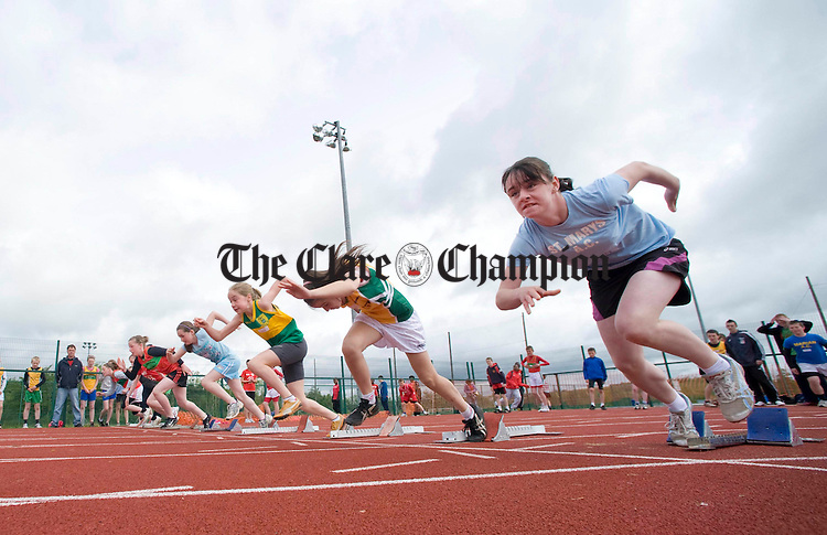 The girl's U-13 sprint gets underway during the Clare Athletic Association juvenile track and field Championships at Lees Road. Photograph by Declan Monaghan
