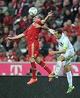 FUSSBALL   1. BUNDESLIGA  SAISON 2011/2012   27. Spieltag FC Bayern Muenchen - Hannover 96       24.03.2012 Franck Ribery (li, FC Bayern Muenchen) gegen Steven Cherundolo (Hannover 96)