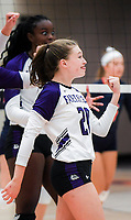 NWA Democrat-Gazette/CHARLIE KAIJO Fayetteville High School Sadie Thompson (20) reacts during a volleyball game, Thursday, October 11, 2018 at Rogers Heritage High School in Rogers.