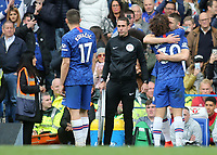 Chelsea's David Luiz hugs his replacement Gary Cahill during Chelsea vs Watford, Premier League Football at Stamford Bridge on 5th May 2019