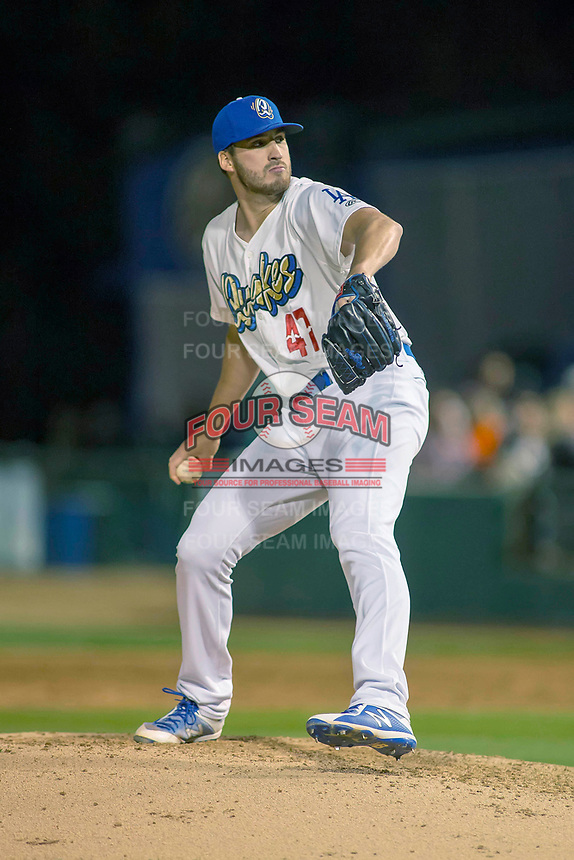 Rancho Cucamonga Quakes relief pitcher Nolan Long (47) in action against the Inland Empire 66ers at LoanMart Field on April 12, 2018 in Rancho Cucamonga, California. The 66ers defeated the Quakes 5-4.  (Donn Parris/Four Seam Images)