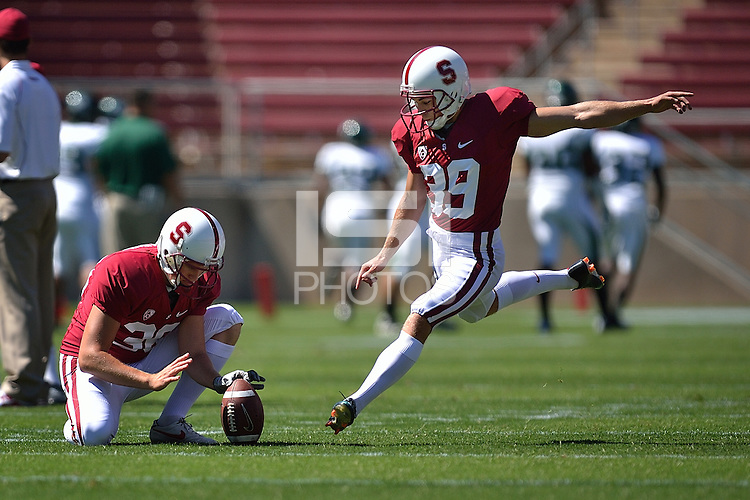 STANFORD, CA - SEPTEMBER 4: Stanford Cardinal kicker Nate Whitaker (39) practices during warm-ups prior to the game against the Sacramento State Hornets on September 4, 2010 at Stanford Stadium / Foster Field in Stanford, CA.  Stanford won 52-17.