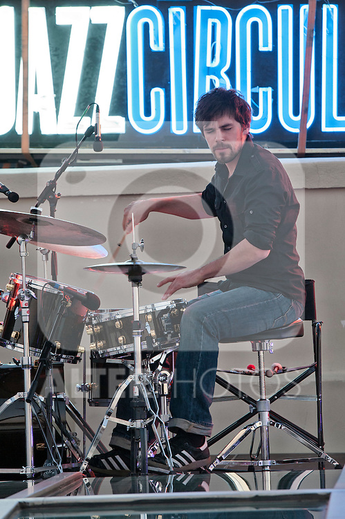 Pablo Held Trio in concert during Jazz Circulo Summer Festival 2012.In the picture Jonas Burgwinkel percussion..(Alterphotos/Ricky)