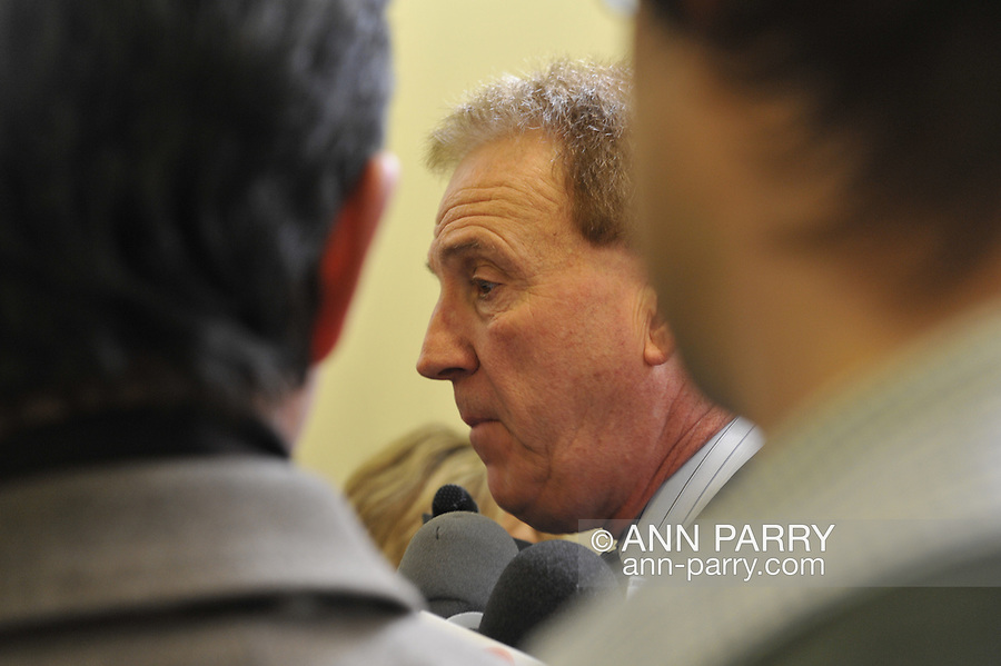 Nassau County Legislature, controlled by Republicans, votes along party lines to consolidate 8 police precincts into 4, on Monday, March 5, 2012, at Mineola, New York, USA. Nassau County Police President of Detectives Association, Glenn Ciccone, spoke at the meeting.