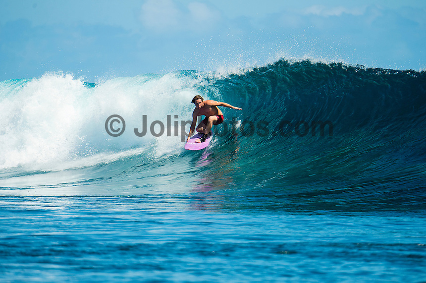 Namotu Island Resort, Namotu, Fiji. (Monday May 12, 2014) –  The swell was in the 3' range today with light winds early. There were sessions at  Namotu Lefts, Swimming Pools,  and Cloudbreak.  Photo: joliphotos.com