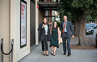 President Jonathan Veitch, Sarah Veitch and Connie Sanchez<br /> Special guests, Trustees, alumni, faculty and staff gather for the dedication reception for Occidental College's newly opened Oxy Arts building on York Boulevard on Oct. 3, 2019. Oxy Arts is Oxy's community art center located in Highland Park, one block south of campus.<br /> (Photo by Marc Campos, Occidental College Photographer)