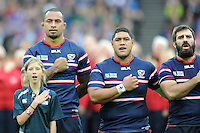 07 October 2015: Samu Manoa of USA leads the rendition of the star spangled banner before Match 31 of the Rugby World Cup 2015 between South Africa and USA - Queen Elizabeth Olympic Park, London, England (Photo by Rob Munro/CSM)