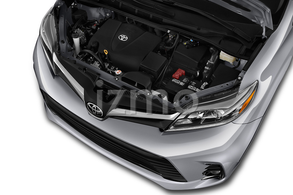 Car stock 2018 Toyota Sienna Limited FWD 5 Door Mini Van engine high angle detail view