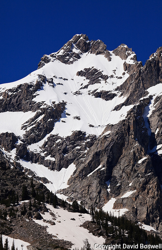 Mount Owens, part of the Cathedral Group in Grand teton National Park.  The peak is seen here from the Cascade Canyon Trail.