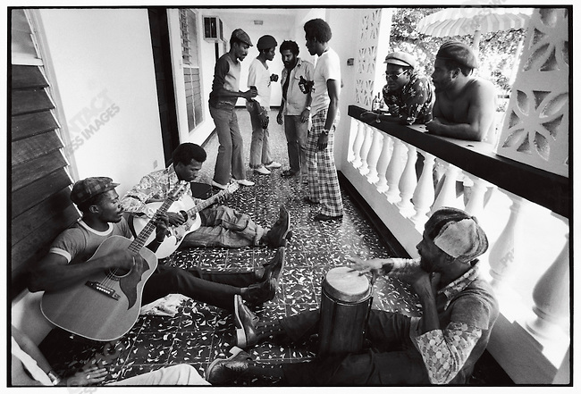 Jammin' at producer Jack Ruby's house in Ocho Rios, Jamaica. March 1976