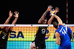 13.09.2019, Paleis 12, BrŸssel / Bruessel<br />Volleyball, Europameisterschaft, Deutschland (GER) vs. Serbien (SRB)<br /><br />Block / Doppelblock Tobias Krick (#2 GER), Georg Grozer (#9 GER) - Angriff Aleksandar Atanasijevic (#14 SRB)<br /><br />  Foto © nordphoto / Kurth
