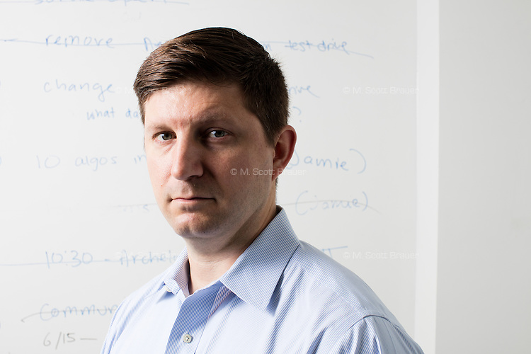 John Fawcett is the CEO and co-founder of Quantopian, a Boston-based start-up that provides a platform for building, testing, and executing stock trading algorithms. He is seen here in the offices of Quantopian in the Downtown Crossing area of Boston, Mass., on Wed., June 1, 2016.