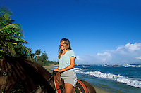 Puerto Rico, Isabela, Horseback riding on beach