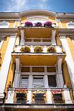 SERBIA, Belgrade, Flowerboxes on balconies of a building in the Zemun neighborhood, Eastern Europe