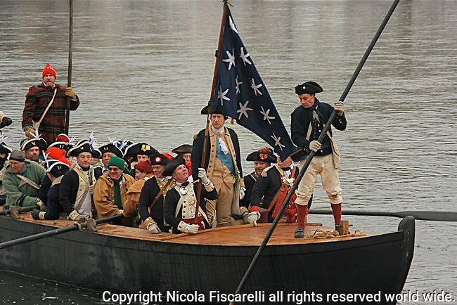 Revolutionary War Re-enactment of Washington crossing the Delaware river.
