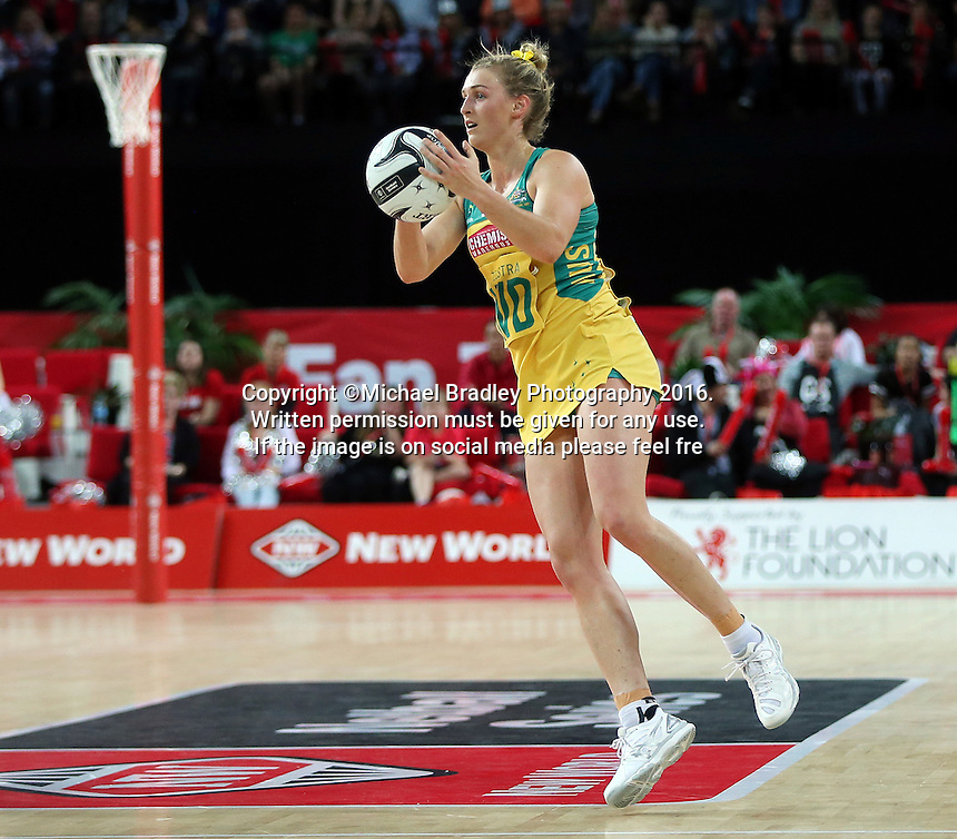 15.10.2016 Australia's Gabi Simpson in action during the Silver Ferns v Australia netball test match played at Vector Arena in Auckland. Mandatory Photo Credit ©Michael Bradley.
