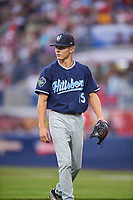 Hillsboro Hops starting pitcher Drey Jameson (15) walks off the field during a Northwest League game against the Spokane Indians at Avista Stadium on August 23, 2019 in Spokane, Washington. Hillsboro defeated Spokane 8-2. (Zachary Lucy/Four Seam Images)