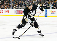 Ben Lovejoy #12 of the Pittsburgh Penguins in action against the Los Angeles Kings during the game at Consol Energy Center in Pittsburgh, Pennsylvania on December 11, 2015. (Photo by Jared Wickerham / DKPS)