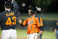 AZL Giants catcher Andres Angulo (1) high fives hitting coach Doug Clark after an RBI-single during a game against the AZL Cubs in Game Three of the Arizona League Championship Series on September 7, 2017 at Scottsdale Stadium in Scottsdale, Arizona. AZL Cubs defeated the AZL Giants 13-3 to win the series two games to one. (Zachary Lucy/Four Seam Images)