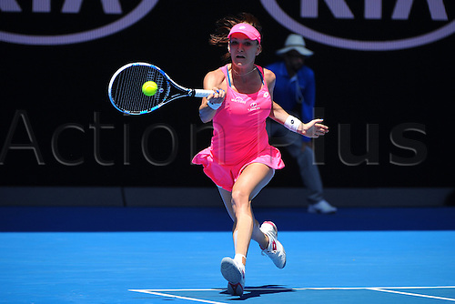 26.01.2016. Melbourne Park, Melbourne, Australia. Australian Open Tennis Championships. Polands Agnieszka Radwanska competes against Spains Carla Suarez Navarro during the quarterfinal of womens singles at the Australian Open Tennis Championships in Melbourne, Australia, Jan. 26, 2016. Agnieszka Radwanska won the match 6-1, 6-3.