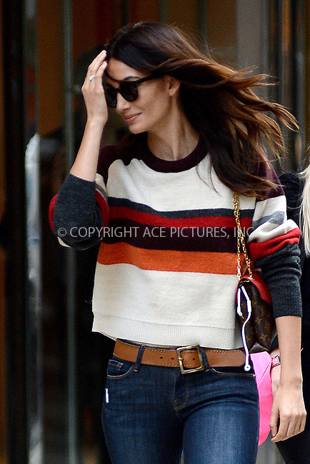 www.acepixs.com<br /> November 1, 2016  New York City<br /> <br /> Lily Aldridge leaving a fitting at Victoria's Secret in Midtown on November 1, 2016 in New York City.<br /> <br /> <br /> Credit: Kristin Callahan/ACE Pictures<br /> <br /> <br /> Tel: 646 769 0430<br /> Email: info@acepixs.com
