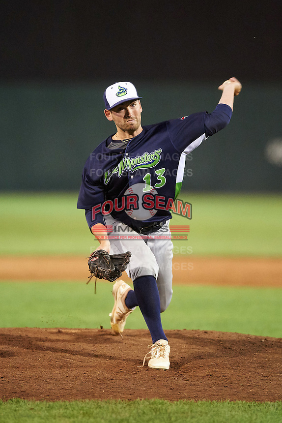 Vermont Lake Monsters relief pitcher Derek Beasley (13) during a game against the Auburn Doubledays on July 12, 2016 at Falcon Park in Auburn, New York.  Auburn defeated Vermont 3-1.  (Mike Janes/Four Seam Images)