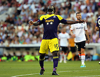 Valencia, Spain. Thursday 19 September 2013<br /> Pictured: A disappointed Wilfried Bony after missing an opportunity to score<br /> Re: UEFA Europa League game against Valencia C.F v Swansea City FC, at the Estadio Mestalla, Spain,