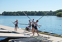 Caversham, Reading, . United Kingdom. <br />  Grace CLOUGH,  Daniel BROWN, Pamela RELPH,  James C. FOX, Oliver<br /> JAMES, get ready to boat. GBRowing team, Media day for Paralympic  Team  to compete at the  2016 Rio Games.   Tuesday  19/07/2016,         [Mandatory Credit Peter Spurrier/Intersport Images]