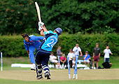 Scotland V Afghanistan, One Day International, at New Cambusdoon, Ayr - one for the pub quiz - Scots capt Gordon Drummond is bowled by Afghan seamer Zadran Shapoor, but is not out, and ran one - how? - was a free hit after a no-ball - Picture by Donald MacLeod 16.08.10 - mobile 07702 319 738 - clanmacleod@btinternet.com