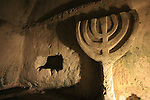 Israel, Alonim Hills. A Menorah in the Cave of the Coffins in Beth She'arim, archeological site of a Jewish town and necropolis