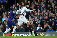 Andre Gomes of Everton tries to shake off a challenge from Chelsea's N'Golo Kante during Chelsea vs Everton, Premier League Football at Stamford Bridge on 11th November 2018