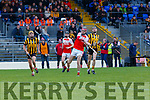 Daniel CAsey Kilgarvan gets his shot in under oressre from Kevin Moynihan Russell Rovers during their Munster Junior Championship game in Fitzgerald Stadium on Saturday