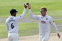 Simon Harmer of Essex celebrates taking the wicket of Jordan Clark during Lancashire CCC vs Essex CCC, Specsavers County Championship Division 1 Cricket at Emirates Old Trafford on 9th June 2018