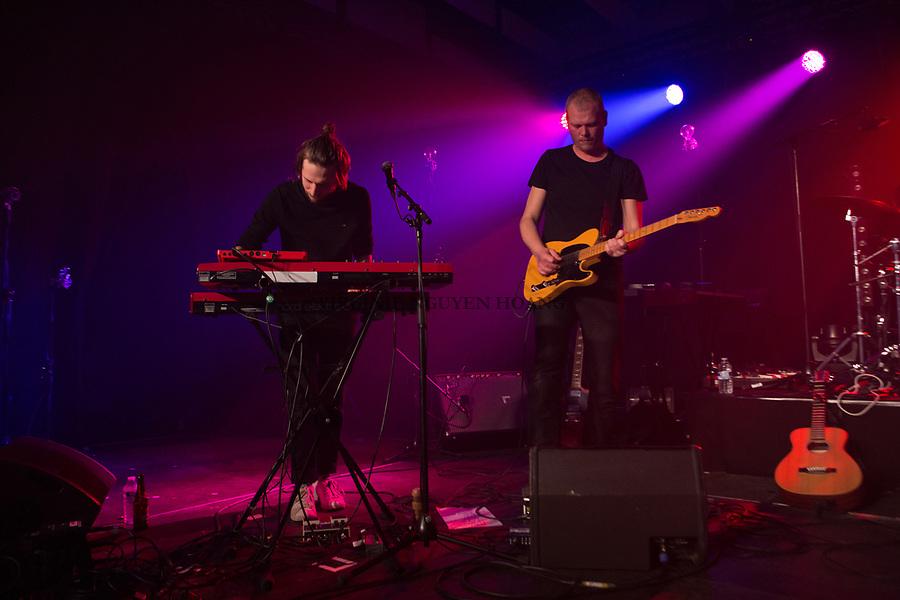 Perwez, Belgique: Aurélio et Jérôme du groupe Sonnfjord, lors d'un concert en première partie du concert de Konoba à la salle Perwex, le 23 février 2018.