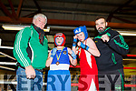 John Regan, Sarah Griffin, William Faulkner and Tony Goggin from Ballyduff Boxing Club at the Tralee Boxing Club annual tournament in the club on Sunday.