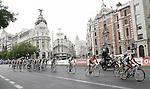 Fabio Andres Duarte (1r), David de la Fuente (2r) and Juan Jose Cobo (3r) lidering the group in the Alcala street during the stage of La Vuelta 2011 between Circuito del Jarama-RACE and Madrid.September 11,2011. (ALTERPHOTOS/Alfaqui/Paola Otero)
