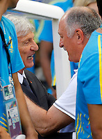 FORTALEZA - BRASIL -04-07-2014. Foto: Daniel Jayo / Archivolatino<br /> Jose Pekerman técnico de Colombia (COL) se saliuda con Luiz Felipe Scolari técnico de Brasil (BRA) durante partido de los cuartos de final por la Copa Mundial de la FIFA Brasil 2014 jugado en el estadio Castelao de Fortaleza./ Jose Pekerman coach of Colombia (COL) salutes with Luiz Felipe Scolari coach of Brazil (BRA) during the match of the Quarter Finals for the 2014 FIFA World Cup Brazil played at Castelao stadium in Fortaleza. Daniel Jayo / Archivolatino<br /> VizzorImage PROVIDES THE ACCESS TO THIS PHOTOGRAPH ONLY AS A PRESS AND EDITORIAL SERVICE IN COLOMBIA AND NOT IS THE OWNER OF COPYRIGHT; ANOTHER USE IS REPONSABILITY OF THE END USER. NO SALES, NO MERCHANDASING. ALL COPYRIGHT IS ARCHIVOLATINO
