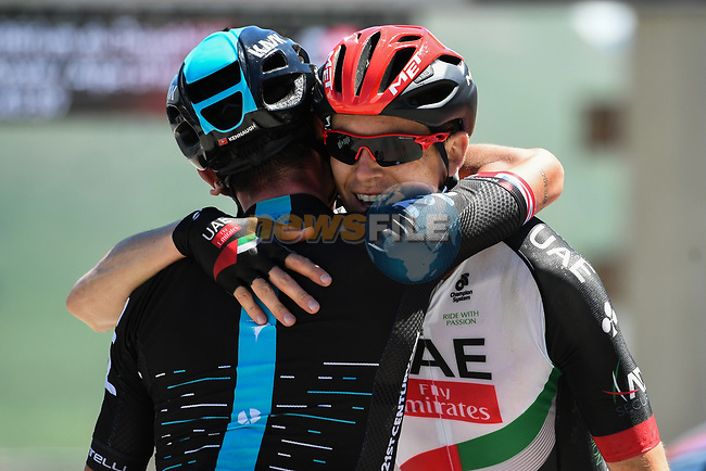 Peter Kennaugh (GBR) Team Sky with friend Ben Swift (GBR) UAE Team Emirates on Alpe d'Huez at the end of Stage 7 of the Criterium du Dauphine 2017, running 168km from Aoste to Alpe d'Huez, France. 10th June 2017. <br /> Picture: ASO/A.Broadway | Cyclefile<br /> <br /> <br /> All photos usage must carry mandatory copyright credit (&copy; Cyclefile | ASO/A.Broadway)