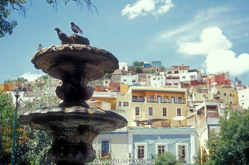 Fountain in the Plazuela San Fernando in the Spanish colonialcity of Guanajuato, Mexico